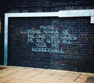 Wonderwall lyrics on a wall